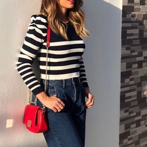 Striped Sweater With Full Sleeves